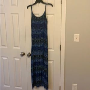 Maxi dress with blue, black and white pattern.